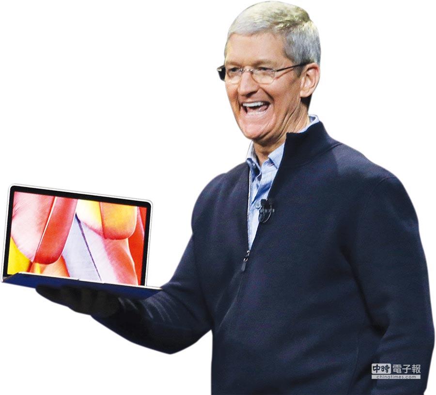 蘋果執行長庫克與Macbook。