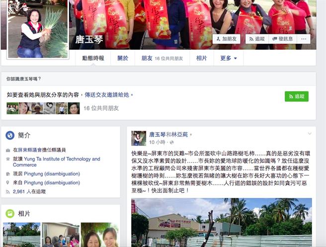 屏東縣議員唐玉琴在臉書上,指控市公所的人行道設計錯誤。(翻攝自唐玉琴臉書)