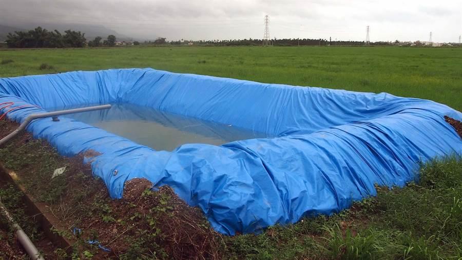 屏東枋寮一對潘姓堂兄弟掉進農田灌溉用水池,約長15公尺、寬10尺,以帆布覆蓋儲水,水深約2.5公尺。(潘建志攝)