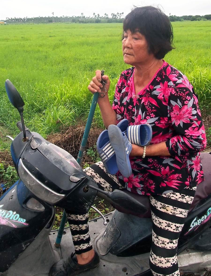 一對孫子溺水1死1命危,潘阿嬤回到現場把兩個孫子的鞋子帶回家,眼神茫然。(潘建志攝)
