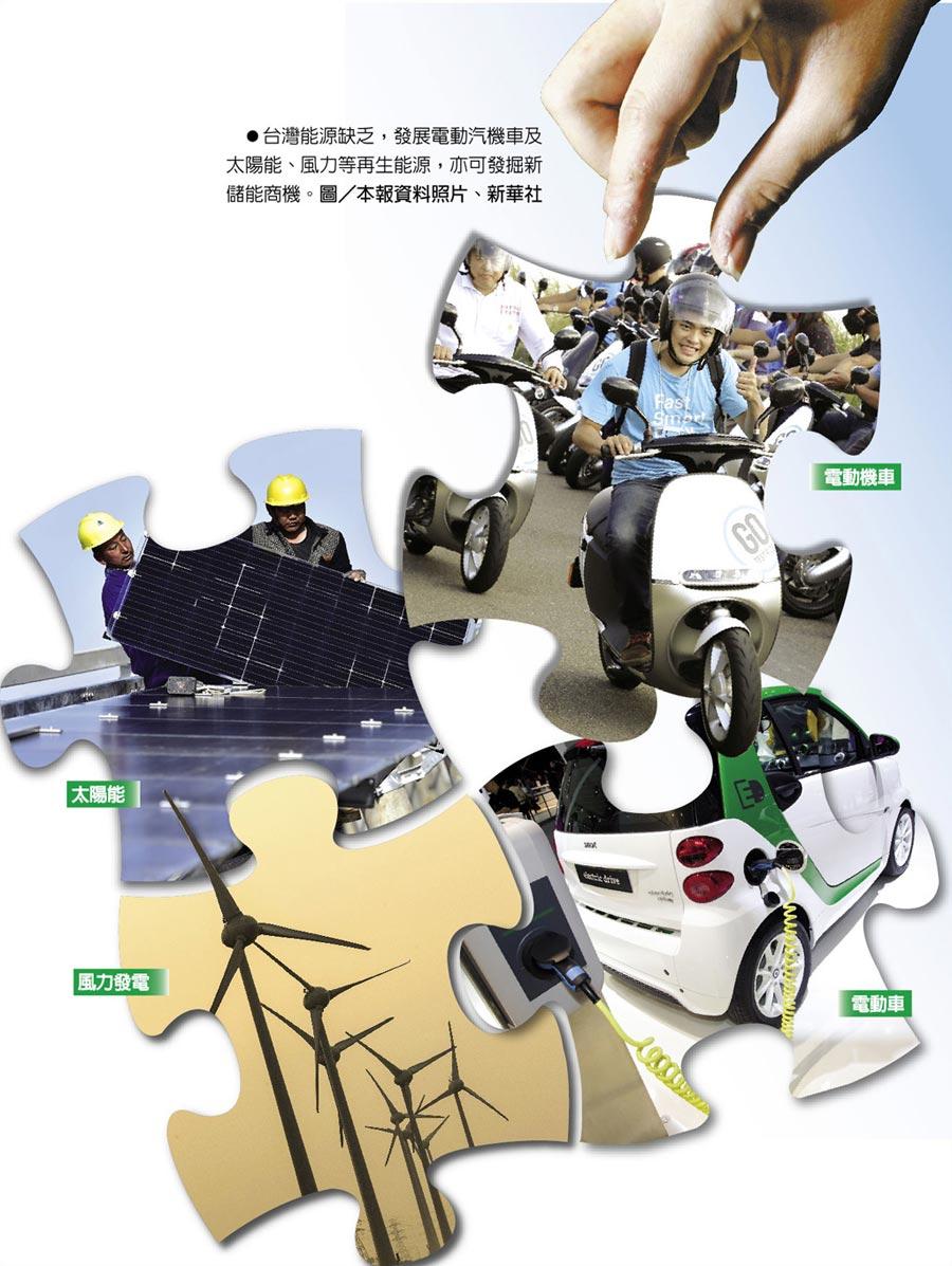 台灣能源缺乏,發展電動汽機車及太陽能、風力等再生能源,亦可發掘新儲能商機。圖/本報資料照片、新華社
