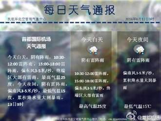 雷雨影響: 北京機場午後多航班延誤