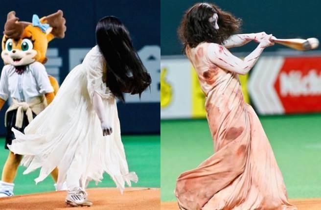 貞子和伽椰子為了宣傳合作電影,在職棒球場上演史上最驚悚開球。(圖/取材自東網)