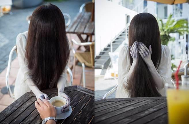 貞子展現有別於電影中恐怖模樣。(圖/翻攝自週刊Georgia)