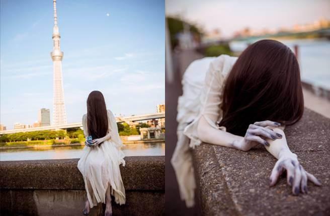 貞子拍攝起純愛寫真有模有樣。(圖/翻攝自週刊Georgia)