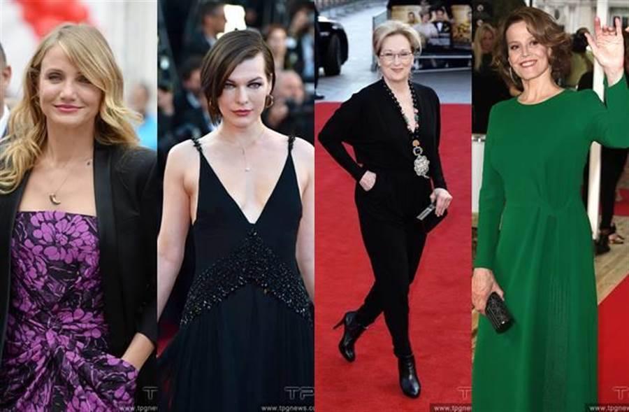這些女星被片商相中盼能加入女版《浴血任務》演出陣容(左起:卡麥蓉狄亞茲、蜜拉喬娃薇琪、梅莉史翠普、雪歌妮薇佛)。(圖/達志影像)