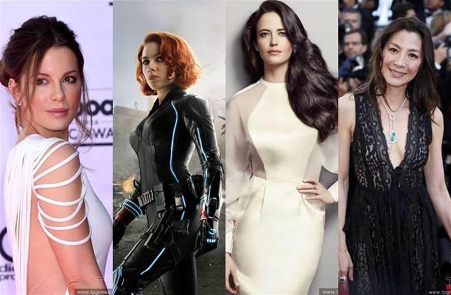 網友也舉出不少能勝任女打仔的女星(左起:凱特貝琴薩、史嘉蕾喬韓森、伊娃葛林、楊紫瓊)。(圖/達志影像)