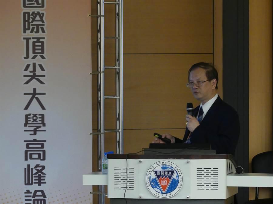高醫大劉景寬校長表示,希望透過舉辦論壇,使身處南台灣之高醫大,能更有效地提升國際能見度。(柯宗緯攝)