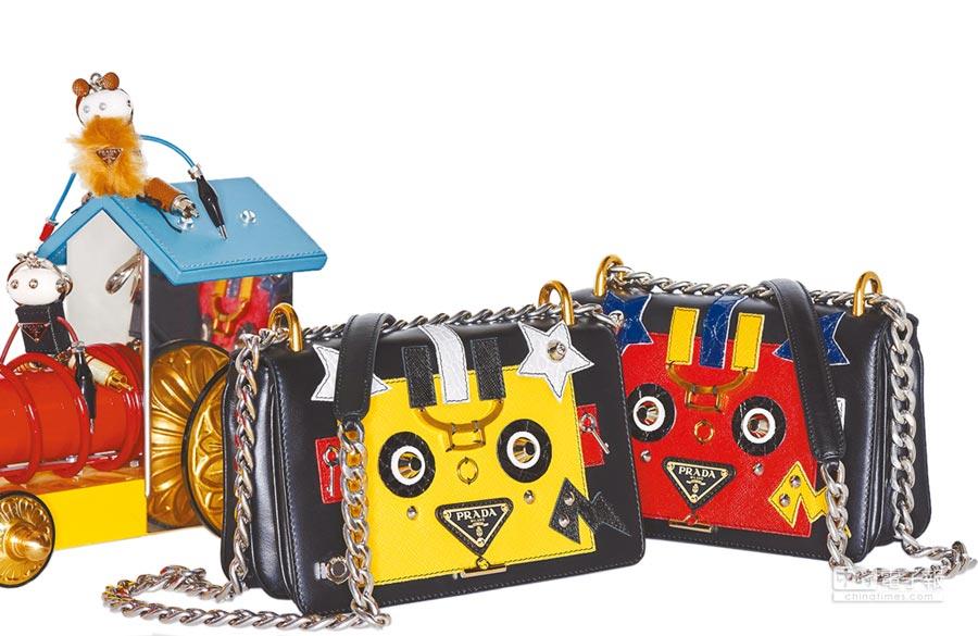 PRADA機器人Pattina鍊帶小牛皮包兼具時尚與趣味,7萬1500元。