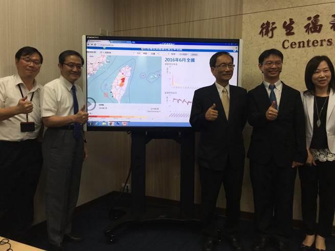 衛生福利部疾病管制署與中研院團隊合作,建置「台灣傳染病標準化發生率地圖」(http://id.geohealth.tw),民眾只要上網,就可以得知自己家裡附近正在流行甚麼疾病。(陳瑄喻攝)