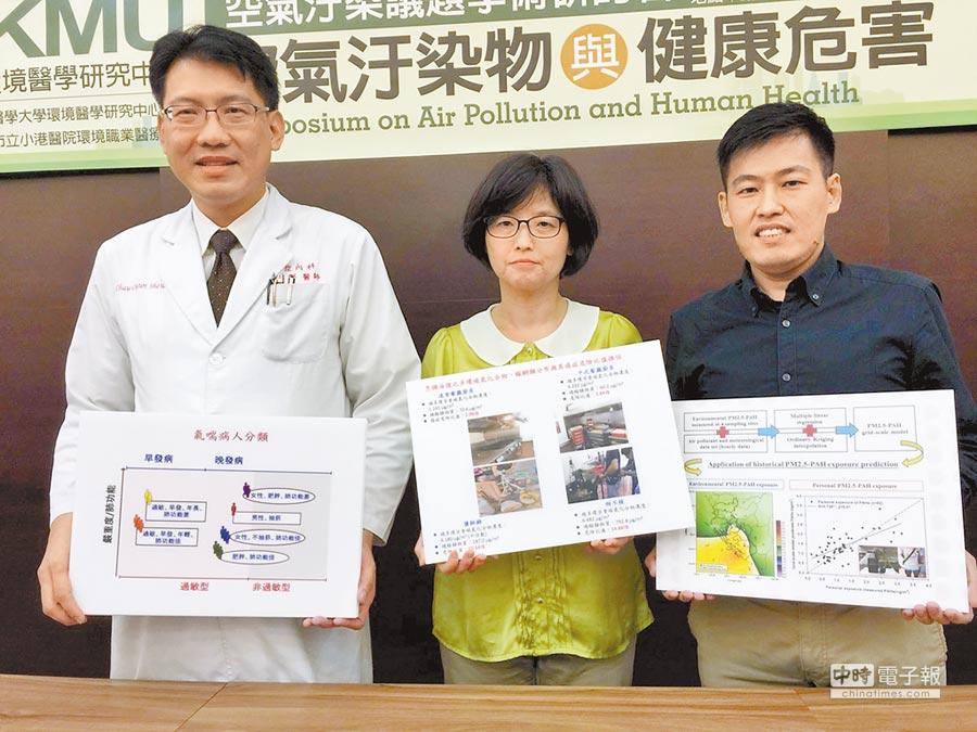 發表研究高雄醫學大學舉辦空氣汙染物與健康危害研討會,副教授許超群(左起)、彭瓊瑜、博士黃互慶等人發表研究報告。(呂素麗攝)