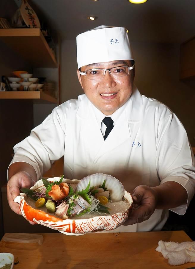 〈子元.壽司割烹〉的料理長「阿德師」許靖德,結合精湛廚藝演繹日本高檔食材,為食客創造更多食趣。(圖/姚舜攝)