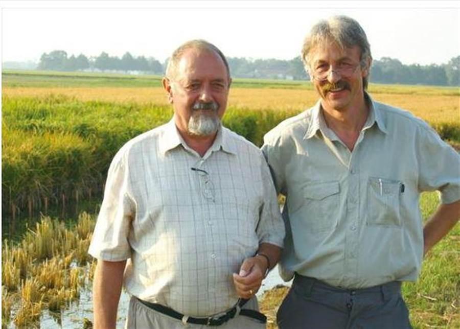 兩位黃金米的發明人,左為普崔格斯,右為貝耶爾。(圖/科技部)
