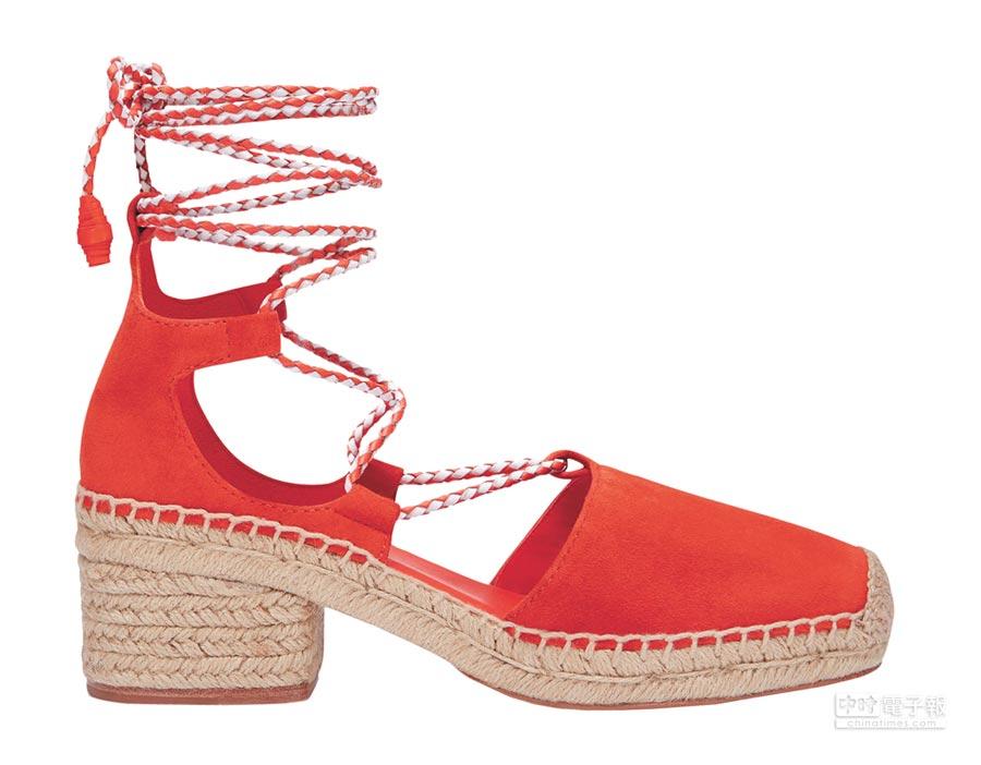 Tory Burch罌粟花紅綁帶草編鞋,1萬2900元。