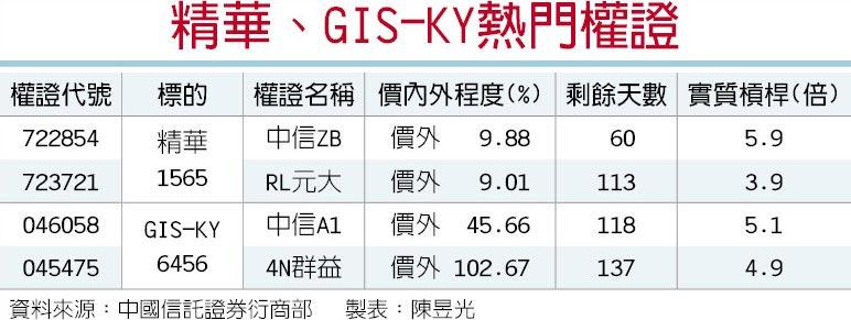 精華、GIS-KY熱門權證