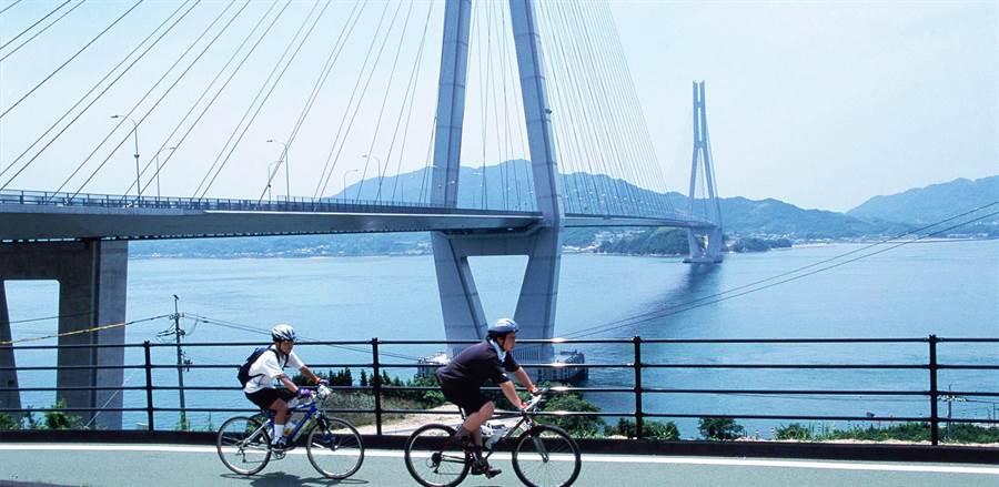 島波海道全長60Km,由9座高架橋樑將瀨戶內海的島嶼連接起來,風景優美。