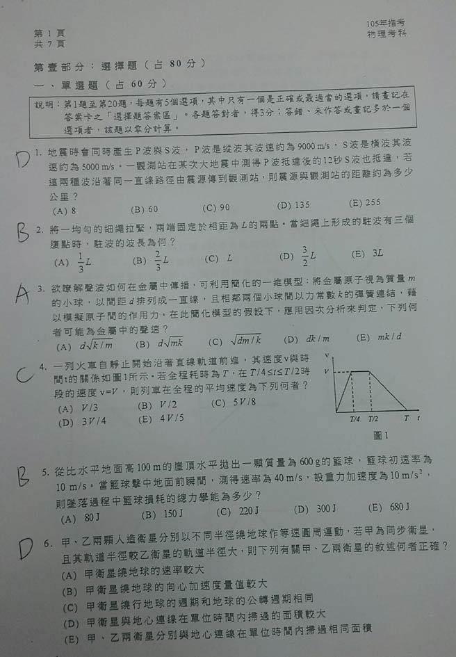 105大學指考物理科試卷解答1。(解題/陳建豪老師)