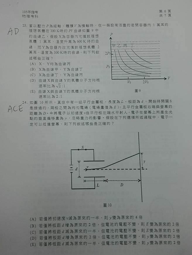 105大學指考物理科試卷解答6。(解題/陳建豪老師)