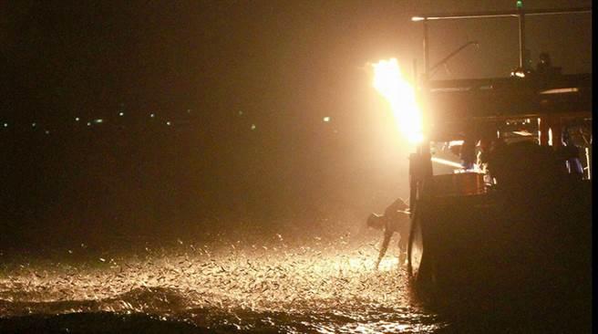 金山漁船利用磺石,加水產生乙炔,瞬間點燃火炬,因點火時產生巨大的「蹦」聲響,因此稱為「蹦火仔」,這項捕魚技法專門捕捉有趨光性的青鱗魚。(許清祥提供)中央社記者黃旭昇新北市傳真 105年7月2日