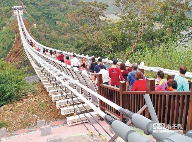 熱度不減屏東山川琉璃吊橋重新收費開放後,魅力不減,2個半月來每日平均有3800人次。(潘建志攝)