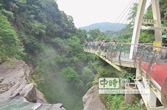站在雲中觀瀑布 台瘋玻璃橋