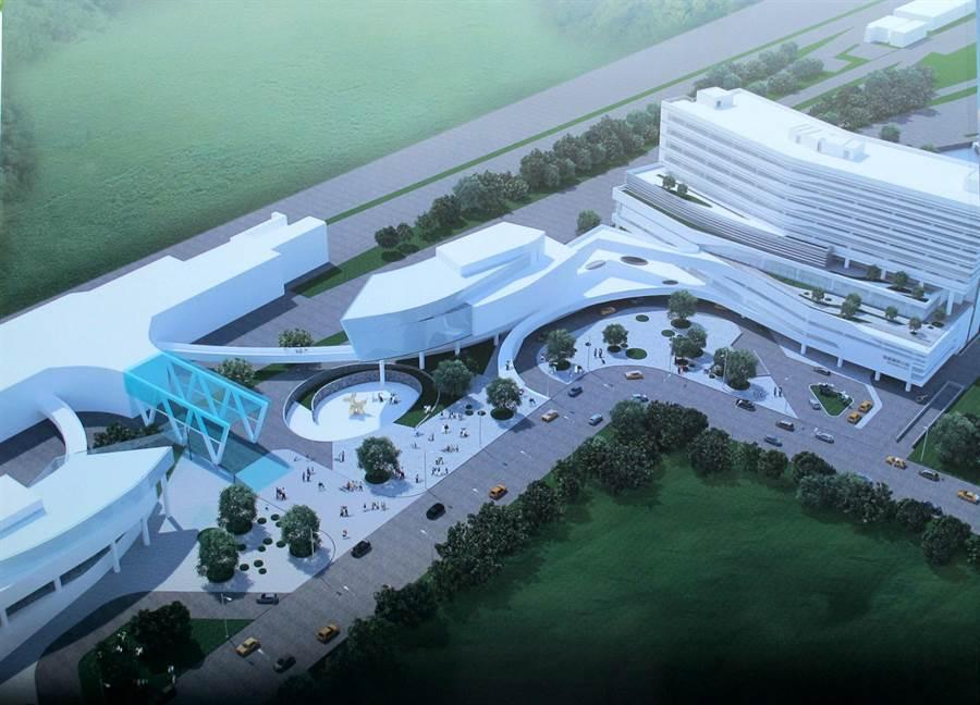 高醫岡山醫院緊鄰高捷岡山站(左側藍色),為全國唯一建在捷運站的醫院,圖為未來醫院雛型。(呂素麗翻攝 )