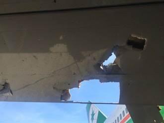 長榮航空飛馬尼拉 機翼破了個大洞