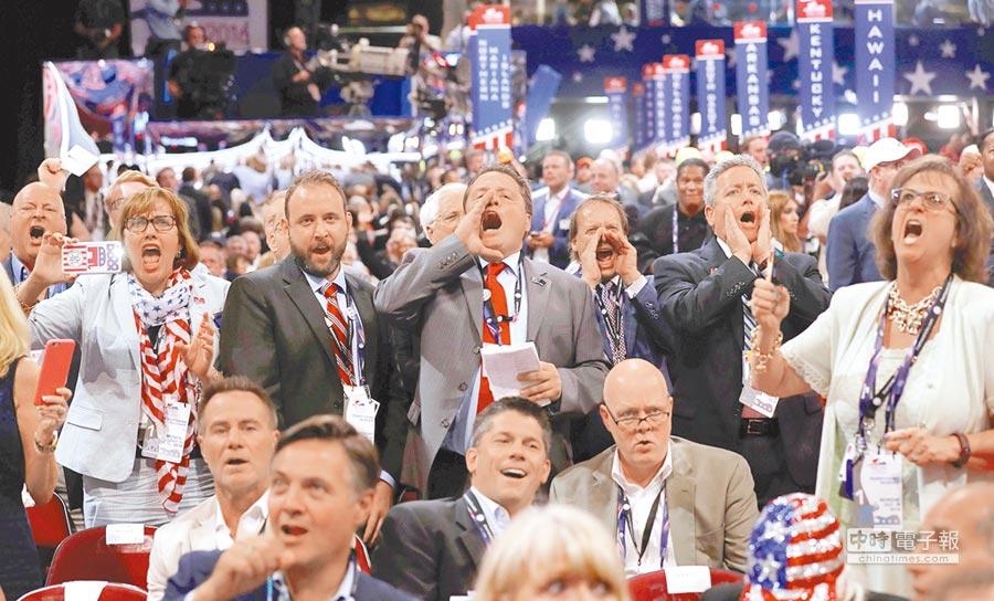逆襲未果美國共和黨全代會18日在俄州克利夫蘭市開幕,反川普勢力試圖修改提名規則未果,大聲叫囂。(路透)