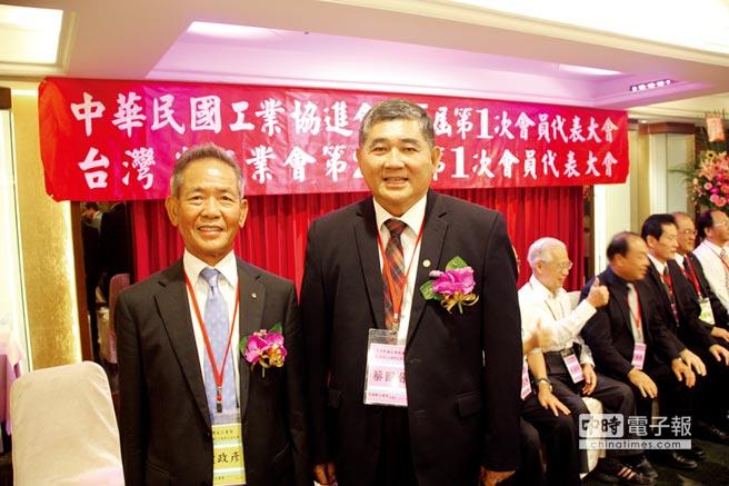台灣省工業會第26屆理事長葉政彥(左)與中華民國工業協進會第五屆理事長蔡圖晉(右)。圖/簡立宗