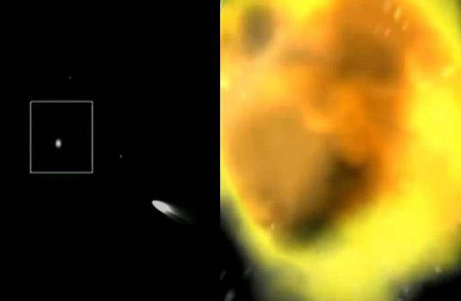 央視發佈大陸防導系統發射,左圖為導彈射向目標,右圖為成功擊中來襲導彈。(圖取自央視)