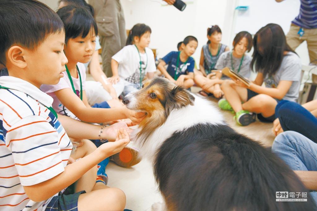 「講故事給狗狗聽孩童閱讀計畫」藉由各式與動物相關的繪本,帶出不棄養不虐待、如何跟貓狗正確互動等概念。圖為小朋友學習與狗親密互動。(杜宜諳攝)