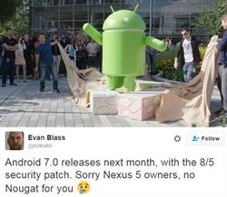 Android 7.0發表時間曝光 Nexus 5遭棄?