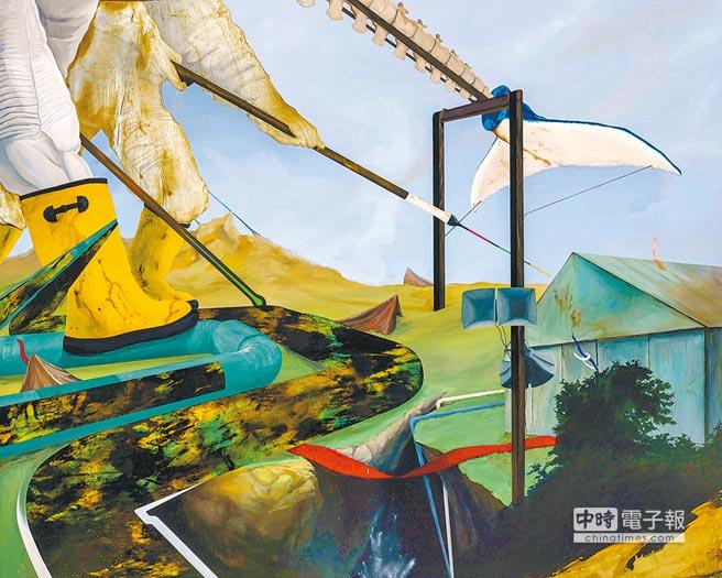 周代焌的畫作《寂靜之外015:忽悠地射向我心》,內容描繪土地被人類過度開發衍生各種環境問題。(北美館提供)