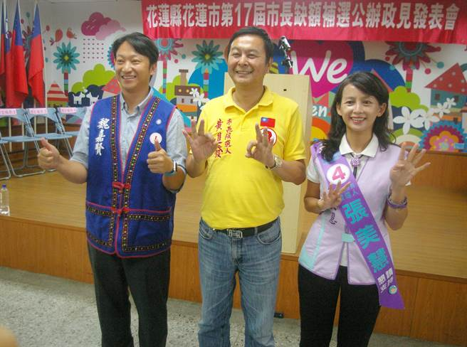 市長候選人魏嘉賢(左1)上午在公辦政見會,呼籲勿讓惡質選風,澆熄在地希望。(許家寧攝)