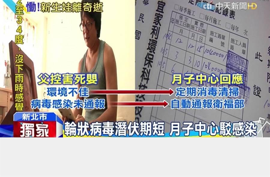 男嬰染輪狀病毒亡 父控月子中心環境差/圖截自中天新聞