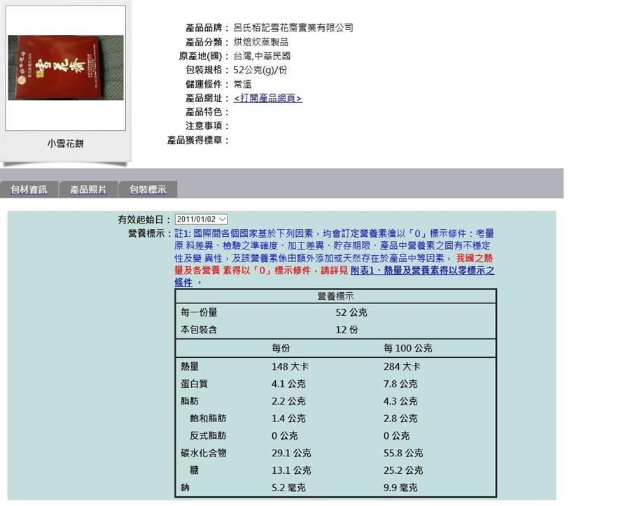 民眾可透過網站,查詢中秋月餅的熱量、營養標示。(翻攝食藥署網頁 )