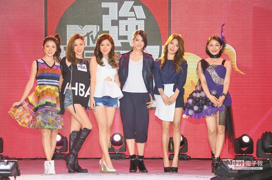 豆花妹(左起)、袁詠琳、關詩敏、賴雅妍、JUNIEL、吉川友昨在ATT SHOWBOX比拚人氣。(羅永銘攝)