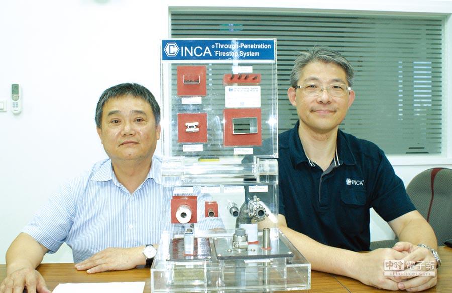 國碳科技執行副總李世孝博士(左)、協理陳佳暉(右);圖中間為該公司研發的防火延燒系統。圖/傅秉祥