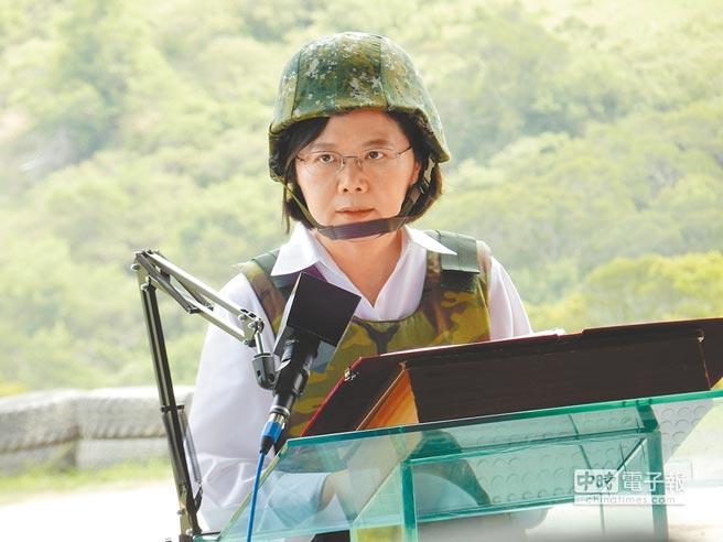 總統蔡英文25日首度視導漢光演習。(記者陳建瑜攝)