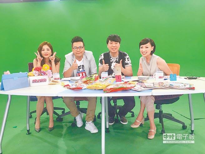 吳怡霈(左起)昨與沈玉琳、梁赫群、寶媽聊藝人代言商機。
