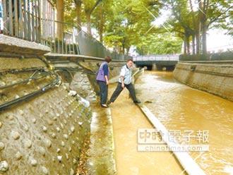 營造廠排廢水 潮洋溪變濁黃