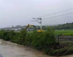 颱風雨水沖刷  台鐵花東線路基遭掏空