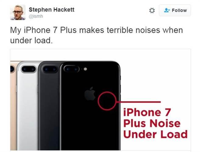 Twitter用户Stephen Hackett发现iPhone 7 Plus在高速运转时,晶片的位置会出现「嘶嘶声」,后续获得许多网友确认。(图/翻摄Twitter)
