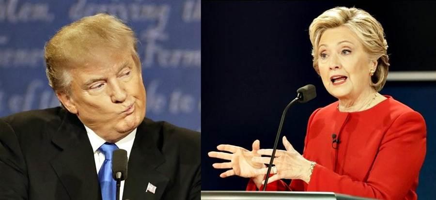川普(左)和希拉蕊在首場辯論會中激烈交鋒。(拼版照片/圖片皆取自美聯社)
