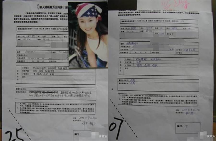 黃安PO出謝楠與柳岩當初參加選秀比賽時的報名表與照片。(圖/取材自微博)