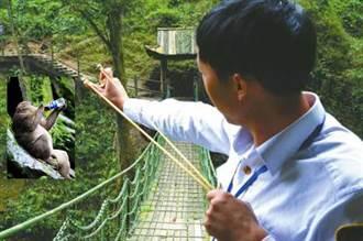 峨眉山猴倌 手持彈弓專防潑猴