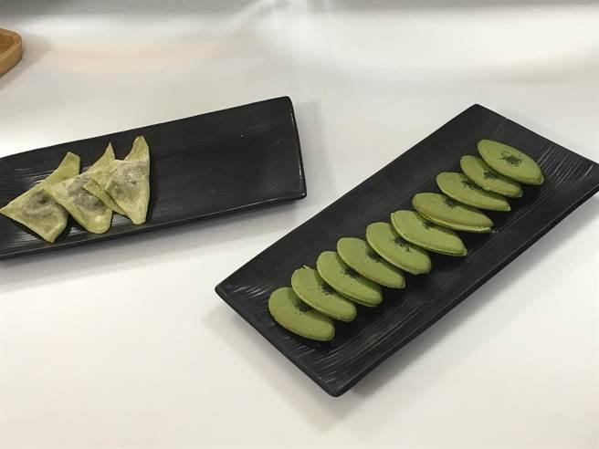 生八橋夕子10片250元(左),京茗茶夾心餅乾10片500元(右)。(郭家崴攝)