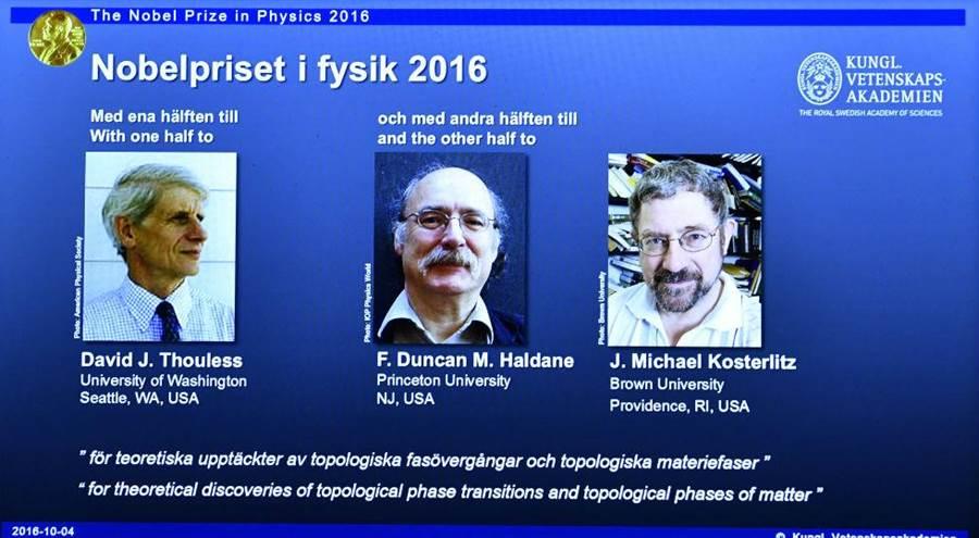 2016年諾貝爾物理獎得主為杜列斯Thouless(圖左)、哈爾丹Haldane(圖中)、科斯特利茲Kosterlitz(圖右)。(圖/美聯社)