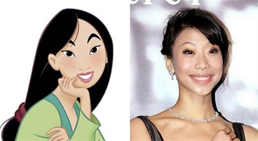 熱心網友幫忙將胡婷婷與動畫版花木蘭組圖,證明兩人相似度高達百分百。(圖/PTT)