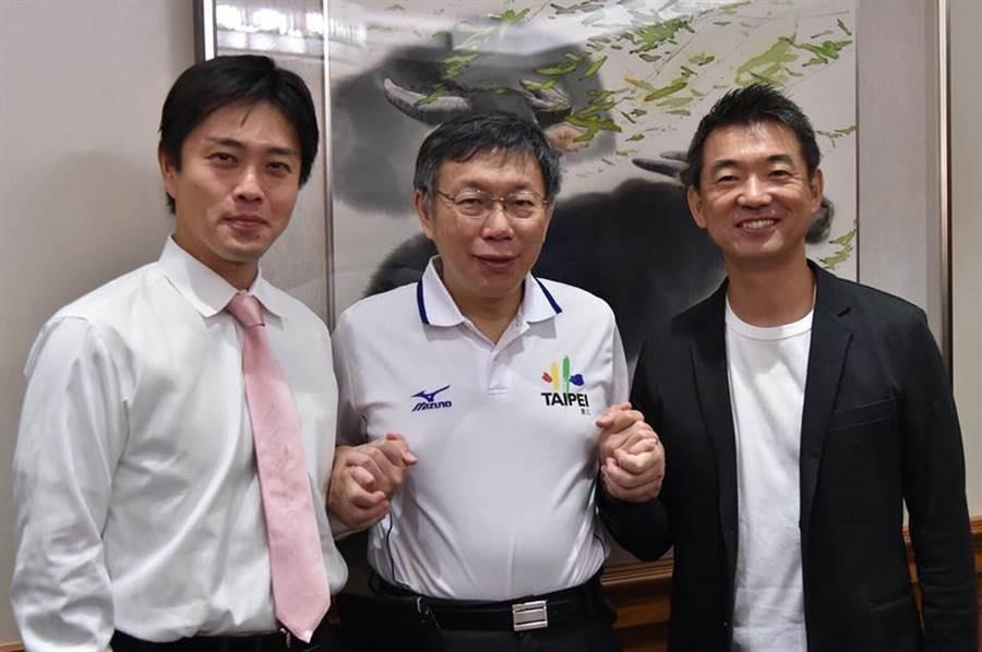 前大阪市長橋下徹(右)協同現任大阪市長吉村洋文(左)來台,台北市長柯文哲今天中午與2人共進午餐。(摘自柯文哲臉書)